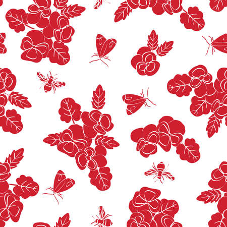 Vector Flowers Pansies Insects Red Silhouettes Scattered on White Background Seamless Repeat Pattern. Background for textiles, cards, manufacturing, wallpapers, print, gift wrap and scrapbooking. Ilustracja