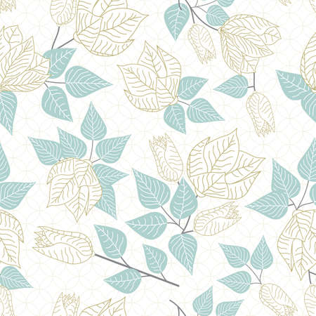 Vector Pastel Floral in Gold White with Green Leaves Scattered on White Background Seamless Repeat Pattern. Background for textiles, cards, manufacturing, wallpapers, print, gift wrap and scrapbooking. Ilustracja