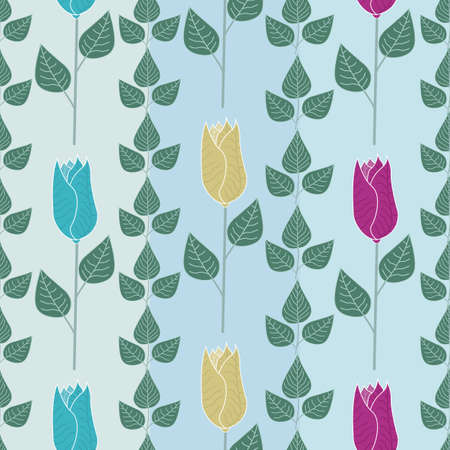 Vector Flowers in Blue Pink Yellow with Green Leaves on Blue Aqua Green Stripes on Seamless Repeat Pattern. Background for textiles, cards, manufacturing, wallpapers, print, gift wrap and scrapbooking.