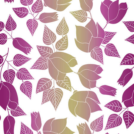 Vector Flowers in Pink Yellow Ombre Scattered on White Background Seamless Repeat Pattern. Background for textiles, cards, manufacturing, wallpapers, print, gift wrap and scrapbooking. Ilustracja