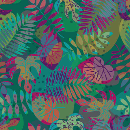Vector Leaves in Green Pink Orange Purple Turquoise on Multicolored Background. Seamless Repeat Pattern. Background for textiles, cards, manufacturing, wallpapers, print, gift wrap and scrapbooking.