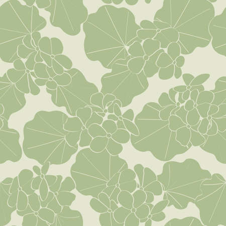 Vector Geranium Flowers Silhouttes in Green on Green Background Seamless Repeat Pattern. Background for textiles, cards, manufacturing, wallpapers, print, gift wrap and scrapbooking.