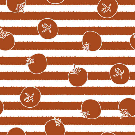 Vector Vegetables Tomatos on White and Red Stripes Seamless Repeat Pattern. Background for textiles, cards, manufacturing, wallpapers, print, gift wrap and scrapbooking. Ilustracja
