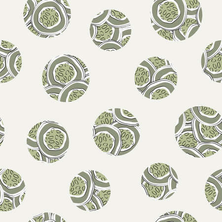 Vector Vegetables Cucumber Circles Scattered on Beige Seamless Repeat Pattern. Background for textiles, cards, manufacturing, wallpapers, print, gift wrap and scrapbooking.