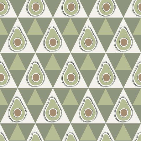 Vector Vegetables Avacados on White and Green Triangles Seamless Repeat Pattern. Background for textiles, cards, manufacturing, wallpapers, print, gift wrap and scrapbooking.