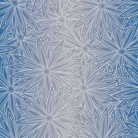Vector White Flower Outlines on Blue Grey Ombre Background Seamless Repeat Pattern. Background for textiles, cards, manufacturing, wallpapers, print, gift wrap and scrapbooking. Banque d'images - 152651143