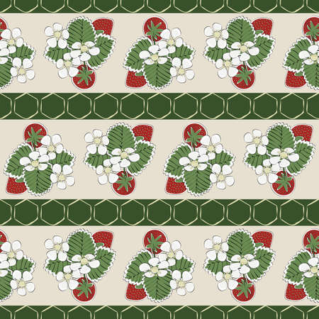 Vector Red Strawberries with Green Leaves and White Blooms on Beige Green Striped Background Seamless Repeat Pattern.