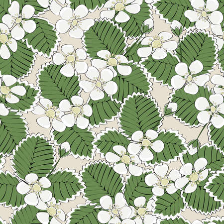 Vector White Strawberry Blooms with Green Leaves on Beige Background Seamless Repeat Pattern.