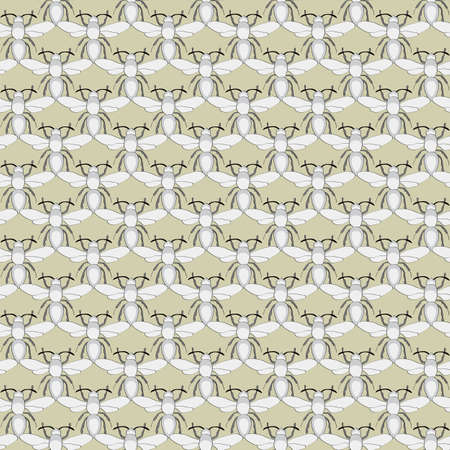 Vector Insects in Gray on Gold Background Seamless Repeat Pattern. Background for textiles, cards, manufacturing, wallpapers, print, gift wrap and scrapbooking. Ilustracja