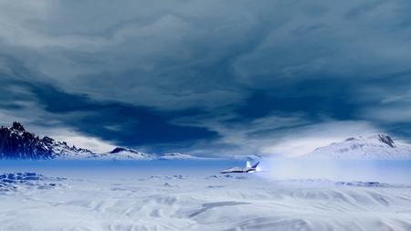fighter jet: Fighter jet in Antarctic  Stock Photo