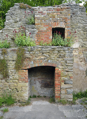 Old Fireplaces in ruined cottage wall; Post Office Row, Tyneham, DorsetOvergrown with Ivy-leaved Toadflax - Cymbalaria muralis, and Red Valerian - Centranthus rubraVillage was abandoned in 1943 Stock Photo