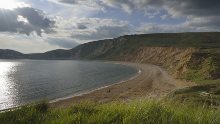 Evening Sun on Worbarrow Bay, Tyneham, Purbeck, Dorset Stock Photo