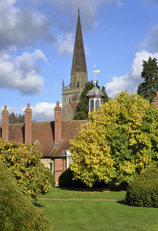 Long Alley Almshouse garden & St Helens Church, Abingdon; OxfordshireBuilt 1446 Stock Photo