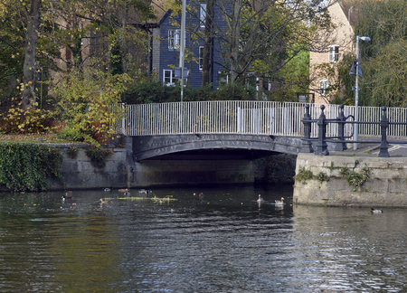 Cast Iron Bridge over the River Ock as it enters the Thames at Abingdon