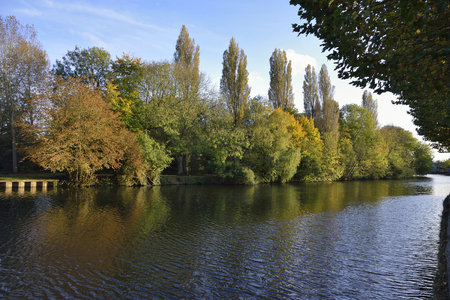 River Thames at St Helens Warfe; Abingdon-on-Thames, OxfordshireAutumn colours