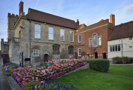 School Quadrangle with Guild Hall & Roysse Schoolroom, , Bridge Street, Abingdon Stock Photo