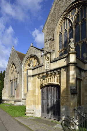 St Helens Church, Abingdon, Oxfordshire West Porch with statue of St Helen Stock Photo