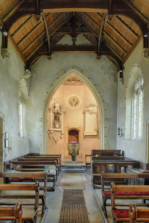 St James Church, Milton Clevedon, South SomersetInterior with Aisle & new Font Editorial