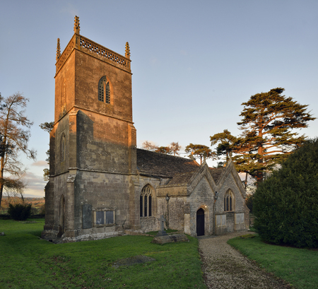 St James Church, Milton Clevedon, South SomersetWinter sun catches top of tower Stock Photo