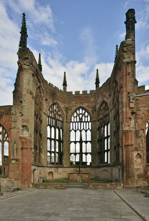 Wall of Coventry Old Cathedral Most of the Cathedral was destroyed during WW2