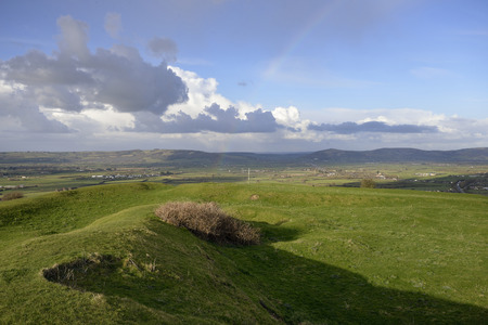 Brent Knoll Hill Fort with view across the Somerset Levels to Bleadon Hill, Loxton Hill, Crook Peak and Compton Hill