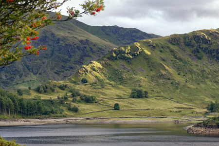 Late Sun on Crags at Riggindale, Haweswater, Lake District, Cumbria, UK