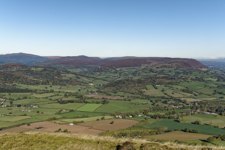 Hatterrall Hill (center right) & Vale of Ewyas, viewed from Ysgyryd Fawr (Skirrid Fawr), Abergavenny, Monmouthshire, Wales 스톡 콘텐츠
