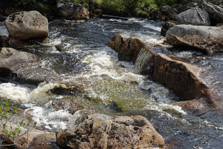 Detail of Water Flowing Over Rocks, Allt Eigheach, River feeding Loch Eigheach, Rannoch Moor, Perth & Kinross, Scotland, UK