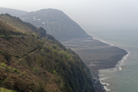 Lynmouth Bay & Hollerday Hill, North Devon, UK  Viewed from Countisbury Hill