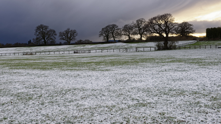 Spring Snow on Fields, Gloucestershire, UK