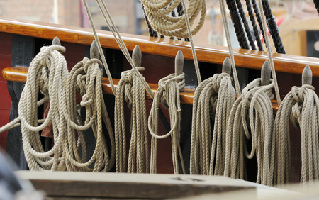 Rigging ropes hanging on Earl Of Pembroke TallshipThree masted Barque, built 1948Gloucester Tall Ships Festival 2007