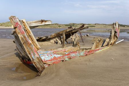 Old Fishing Boat Wreck, Crow Point, Braunton, North Devon, UK