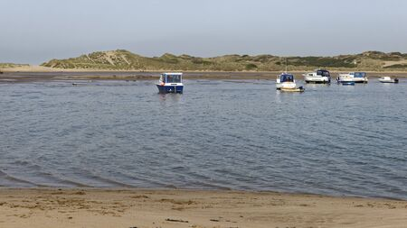 Boats at Crow Point, Braunton Burrows, North Devon, UK