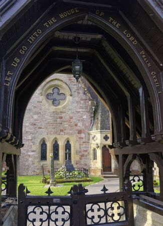 Luss Parish Church viewed through Church Gate, Loch Lomond, Argyll, Scotland, UK  Build 1875 Stock Photo