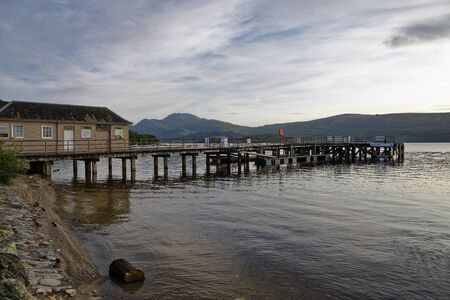 Luss Pier, Loch Lomond with Ben Lomond behind, Argyll, Scotland, UK
