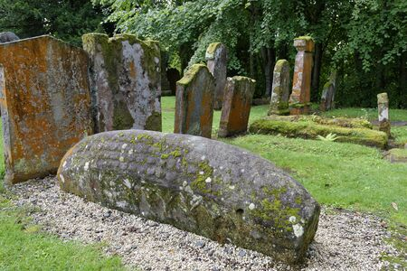 11th century Viking Hogback Stone, Luss Church, Loch Lomond, Argyll, Scotland, UK Stock Photo
