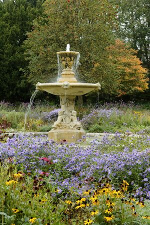Unwin Fountain Floral Display, Sandford Park, Cheltenham, Gloucestershire; UK