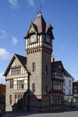 Barrett Browning Institute with Memorial Clock Tower, built 1896 in a Tudor style Ledbury, Herefordshire