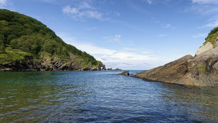 Hele Bay and Rock Arch at Beacon Point near Ilfracombe, North Devon Coast, UK