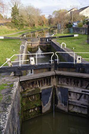 Top Lock of Caen Hill Locks on the Kennet & Avon Canal, Devizes, Wiltshire  Viewed from Devizes Town Bridge, Northgate Street