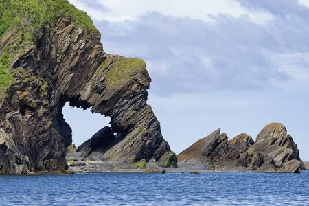 Natural Rock Arch at Beacon Point, Hele Bay near Ilfracombe, North Devon Coast, UK