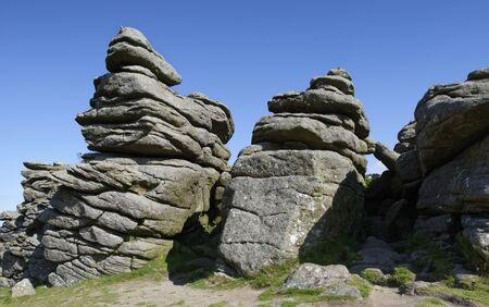 Morning Sun on Granite Rocks of Hound Tor, Dartmoor, Devon; UK