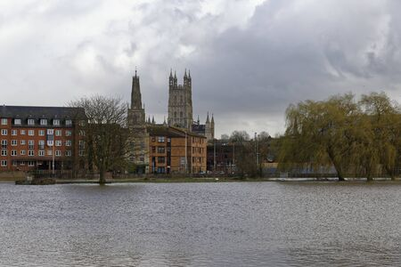 River Severn in Flood at Gloucester, Gloucestershire, UK
