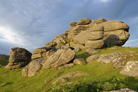 Late Sun on Saddle Tor, Haytor Down, Dartmoor, Devon, UK