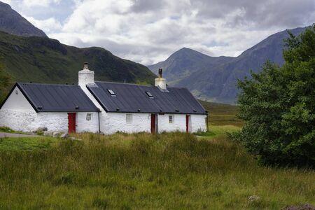 Blackrock Cottage at the head of Glen Coe, Rannoch Moor, Highland, Scotland, UK Stock Photo