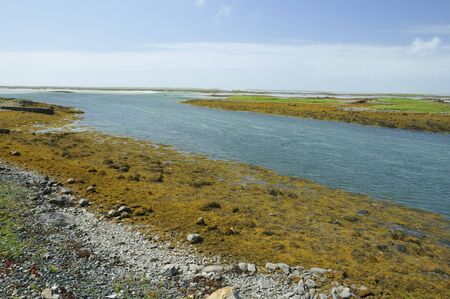 View from causeway to North Uist from Benbecula.Eileanan Glasa on right 版權商用圖片