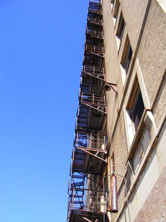 Rusty Staircase of Old Rundown Downtown Hotel Stok Fotoğraf
