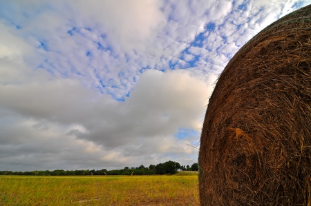 haybale against a vibrant blue sky