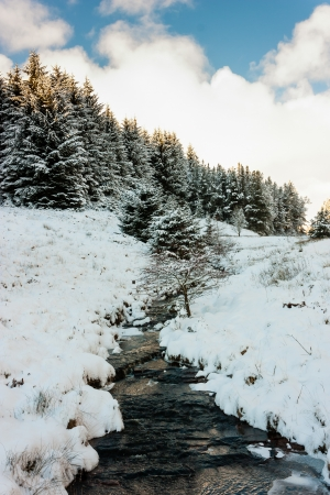 A small stream runs through a snow covered landscape