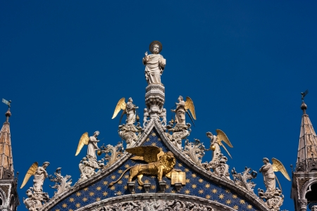 The winged golden lion of St Mark in Venice
